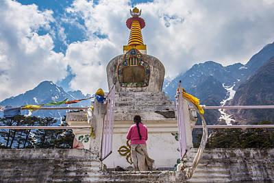 Mahayana Photograph - White Stupa At Yumthang Valley In Lachung North Sikkim India by Nattee Chalermtiragool