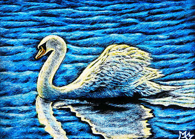 Mixed Media - White Swan by Monique Morin Matson