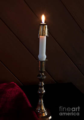 Photograph - White Taper Candle Lit Art Prints by Valerie Garner