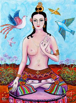 Tibetan Buddhism Painting - White Tara With Birds by Peta Garnaut
