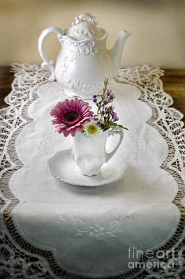 Photograph - White Teapot And Flowers by Jill Battaglia