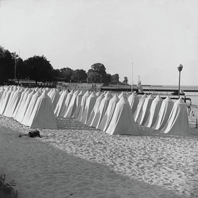 Tent Photograph - White Tents On A Beach by Horst P. Horst