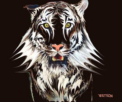 Digital Art - White Tiger 1 by Marlene Watson