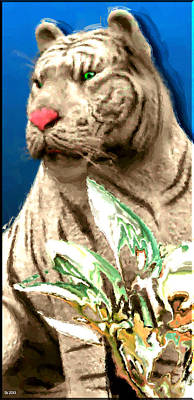 Asian Tiger Digital Art - White Tiger by Daniel Janda