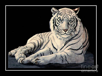 White Tiger Art Print by DiDi Higginbotham