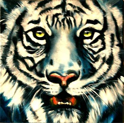 Painting - White Tiger by Em Kotoul