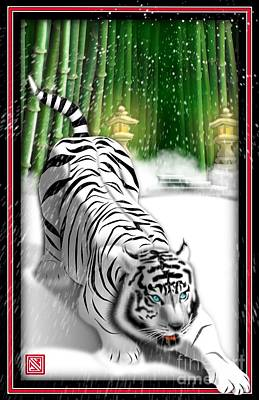 Digital Art - White Tiger Guardian by John Wills