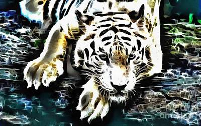 Painting - Lit White Tiger Lounging By Water by Catherine Lott