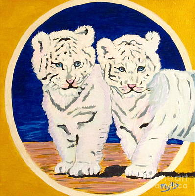 Painting - White Tiger Twins by Phyllis Kaltenbach
