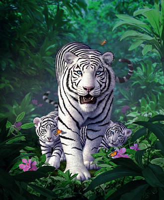 Jungle Digital Art - White Tigers by Jerry LoFaro