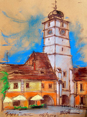 Romania Painting - White Tour In Sibiu by Mona Edulesco