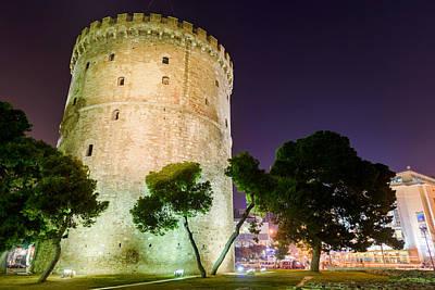 White Tower In Salonica Greece Art Print by Sotiris Filippou