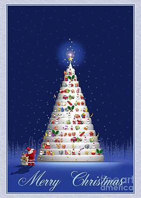 Digital Art - White Tree Christmas by JH Designs