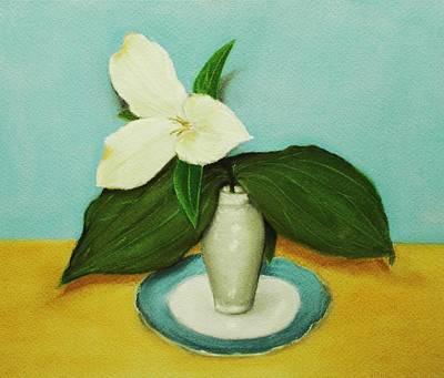 Card Painting - White Trillium by Anastasiya Malakhova