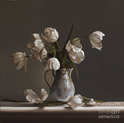 Oil Painting - White Tulips by Lawrence Preston