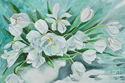 Banff Artist Painting - White Tulips by Virginia Ann Hemingson