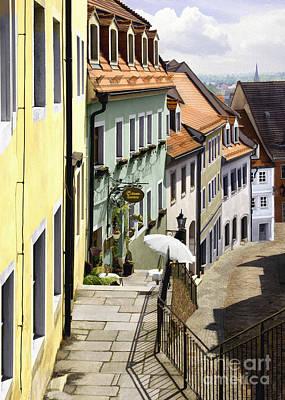German Village Photograph - White Umbrella Cafe by Sharon Foster