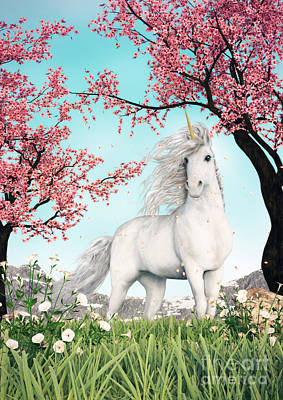 White Unicorn Amongst Cherry Trees Art Print