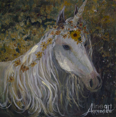 White As Snow Painting - White Unicorn In Sunflowers by Avonelle Kelsey