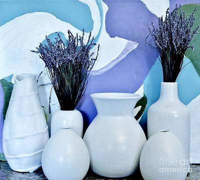 Wrap Digital Art - White Vases by Marsha Heiken