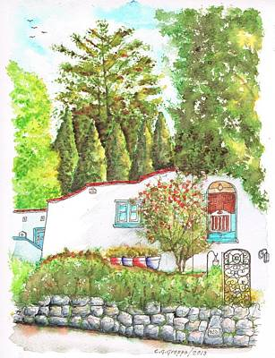 Olympus Painting - White Wall In Mt Olympus - Hollywood Hills - Los Angeles - Ca by Carlos G Groppa