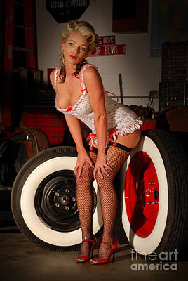 White Wall Pinup Girl Art Print by Jt PhotoDesign