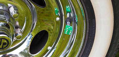 Art Print featuring the photograph White Wall Tyre Chrome Rim And Dice by Mick Flynn