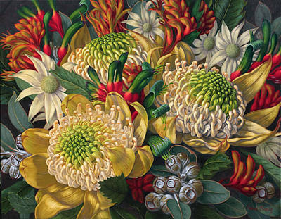 White Waratahs Flannel Flowers And Kangaroo Paws Original by Fiona Craig