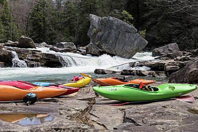 White Water Kayaks At River Art Print