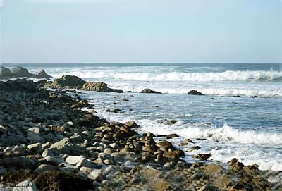 Rocky Coast Digital Art - White Waves On Rocky Beach by Barbara Snyder