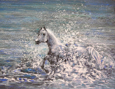White Wild Horse Art Print by Miki De Goodaboom