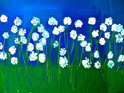 Field Mixed Media - White Willows- Huge Original Floral Painting by Monique Grant-Patel