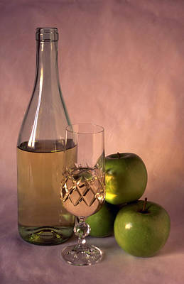 Sake Bottle Photograph - White Wine And Apples On Painted Background by IB Photo