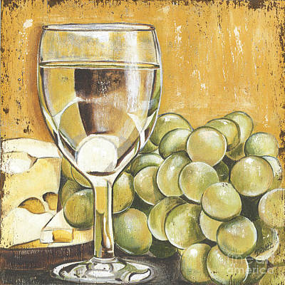 White Grapes Painting - White Wine And Cheese by Debbie DeWitt