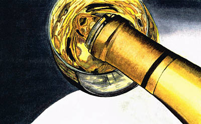 Bottle Painting - White Wine Art - Lap Of Luxury - By Sharon Cummings by Sharon Cummings