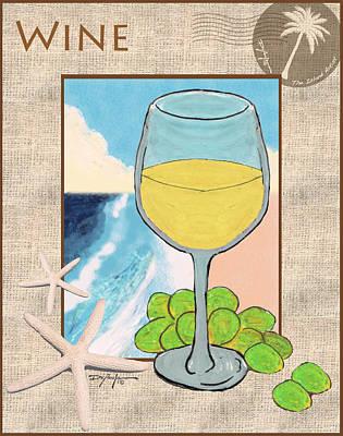 White Wine Beachside Art Print by William Depaula