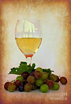 White Wine Art Print by Clare Bevan