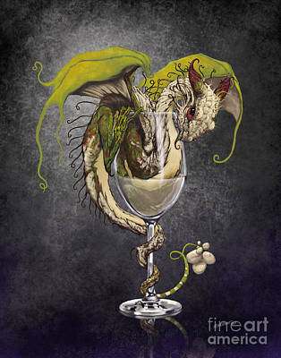Wine Glass Digital Art - White Wine Dragon by Stanley Morrison