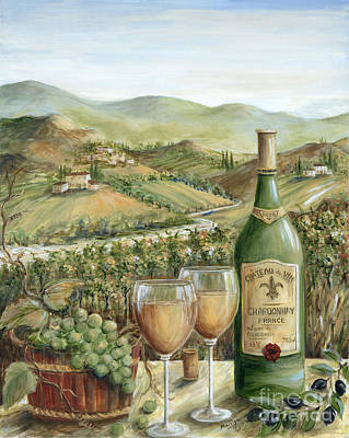 Bottle Painting - White Wine Lovers by Marilyn Dunlap