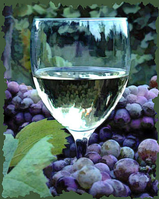 Sparkling Wines Digital Art - White Wine Reflections by Elaine Plesser