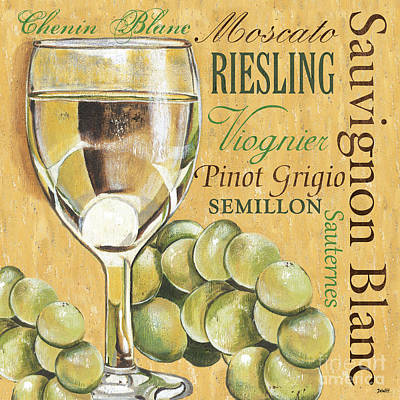 Blue Grapes Painting - White Wine Text by Debbie DeWitt