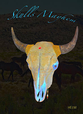 Mixed Media - White With Turquoise And Gold Illuminating Buffalo Skull by Mayhem Mediums