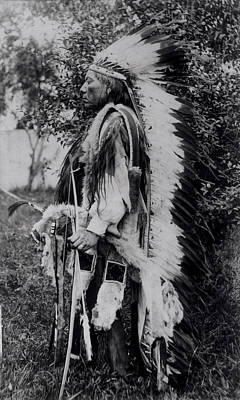 Cheyenne Headdress Photograph - White Wolf, A Comanche Chief, C.1891-98 Bw Photo by American School