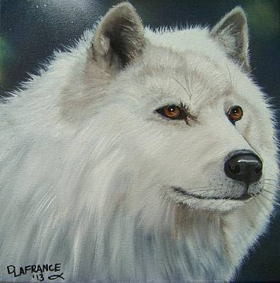 Canine Painting - White Wolf by Debbie LaFrance
