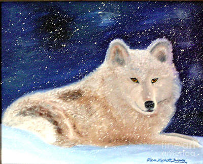 Painting - White Wolf In Winter Blizzard by Lora Duguay