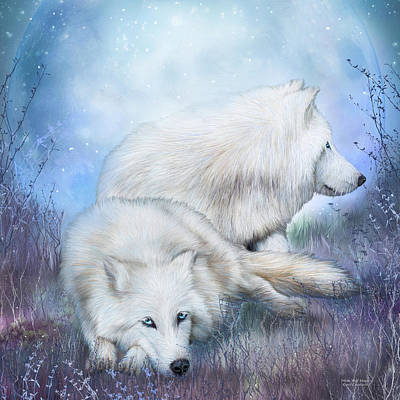 White Wolf Mates Art Print by Carol Cavalaris
