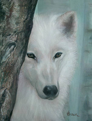 Pack Animal Mixed Media - White Wolf Portrait - Blue Light by ean R Brown - Terri Brown Guerra