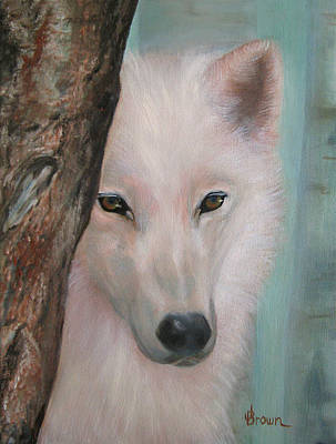 Pack Animal Mixed Media - White Wolf Portrait - Orig by Jean R Brown - J Brown