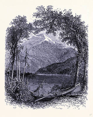 Placid Drawing - Whiteface Seen From Lake Placid United States Of America by American School