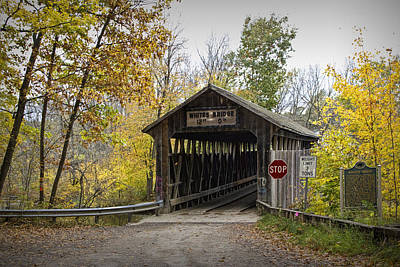 Whites Covered Bridge On The Flat River Near Lowell Michigan No. 0338 Art Print by Randall Nyhof